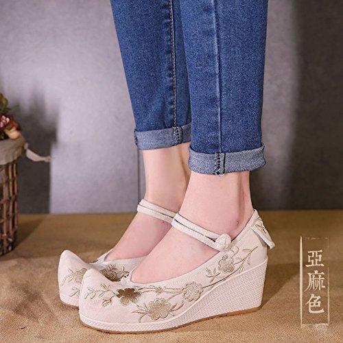 f3357f23 Nuevo BBSLT-Zapatos De Tela Algodón Lino Bordado Tacones Altos Wild Chistes  7Cm Zapatos De