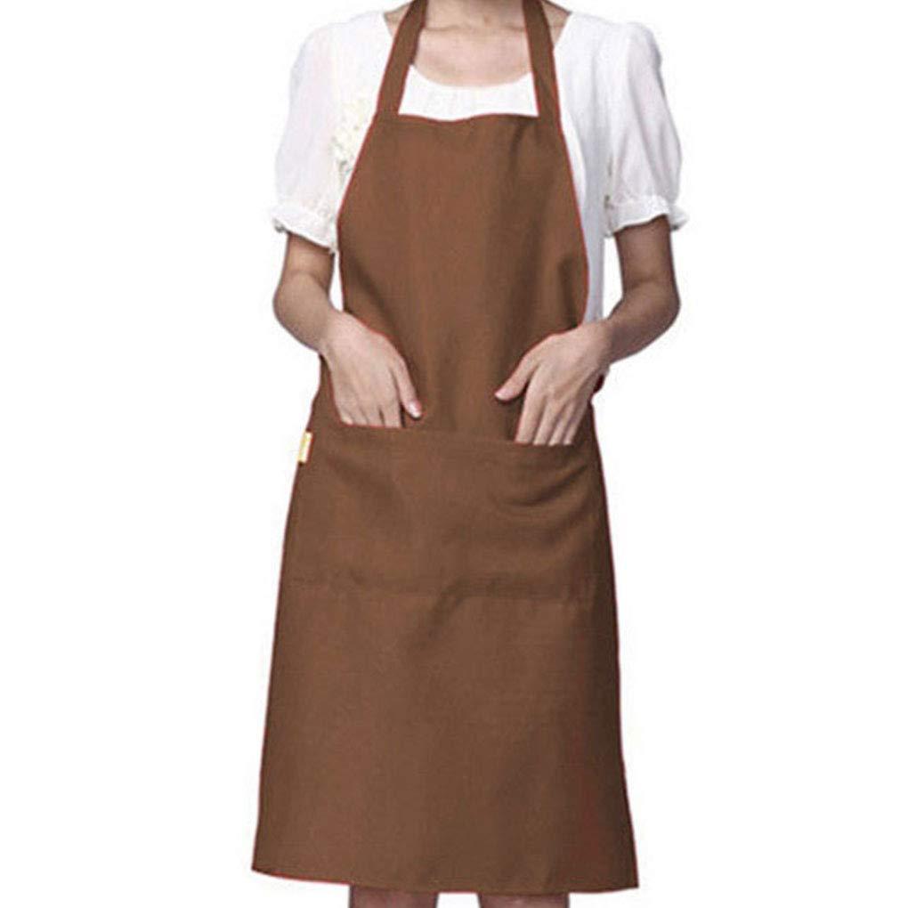 Floridivy Solid Color Simple Design Halter Neck Apron Polyester Waiter Baker Chefs Full Bib Front Pocket