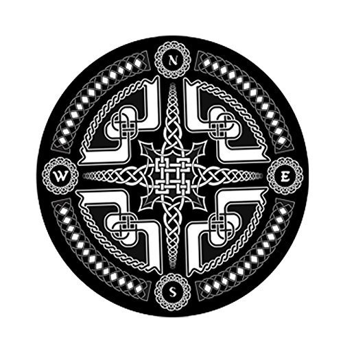 ... Wolala Home Black And White Geometric Chain Eight Party Compass Round  Throw Area Rug 3 Feet