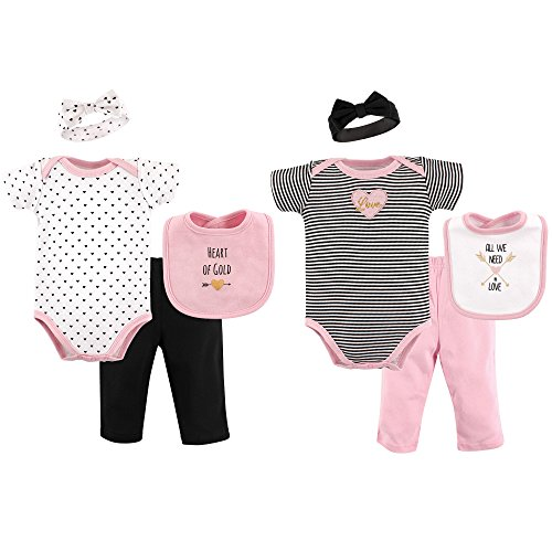 (Hudson Baby Grow with Me Clothing Giftset in Gift Box 8-Piece Set, Heart of Gold, 0-6)