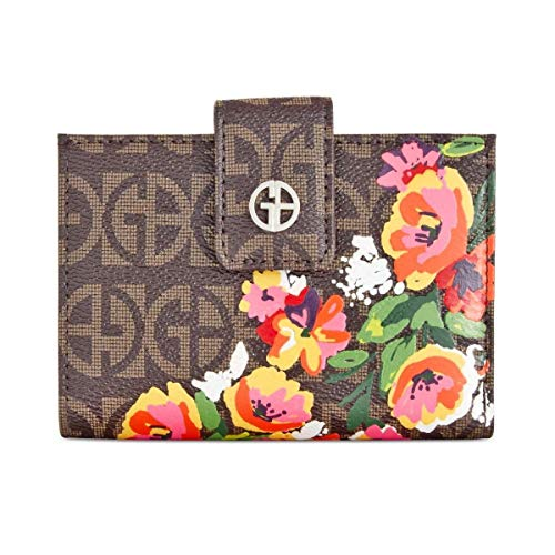 Giani Bernini Womens Block Signature Floral Butterfly Frame Indexer Small Wallet Brown ()