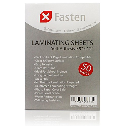XFasten Self-Adhesive Laminating Sheets, 9 x 12 Inches (50-Pack)
