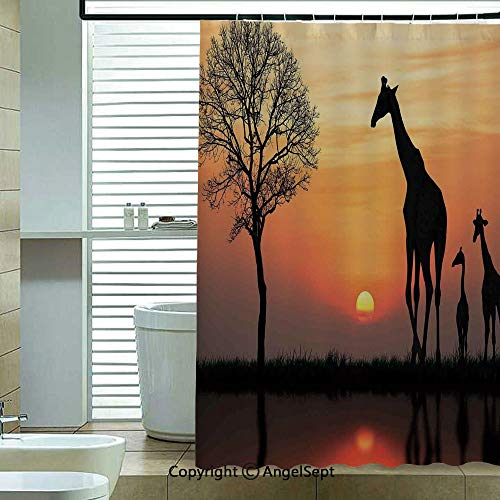 Shower Curtain with Hooks,Giraffes-on-Bushes-by-Lake-Surface-Horizon-in-The-Middle-of-Nowhere-Image,72x78.7inch,for Any Bathtub,Orange-Black ()