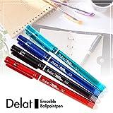 Delat Erasable Gel Ink Ballpoint Pen 0.5mm, 4 Colors Set (BLACK/RED/BLUE/GREEN)