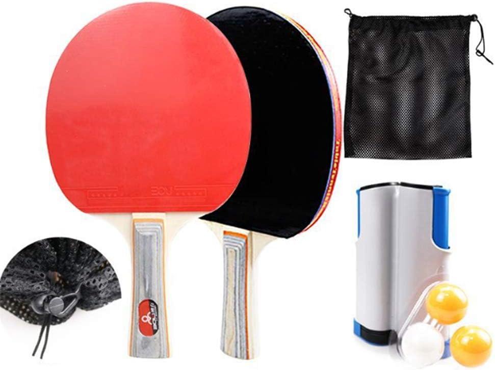 HJX888 Juego de Ping Pong con 2 Raquetas + 3 Bolas Pelotas Tenis de Mesa + 1 Red Retráctil + 1 Bolsa Conjunto de Pingpong Set Portátil para Interior al Aire Libre Regalo