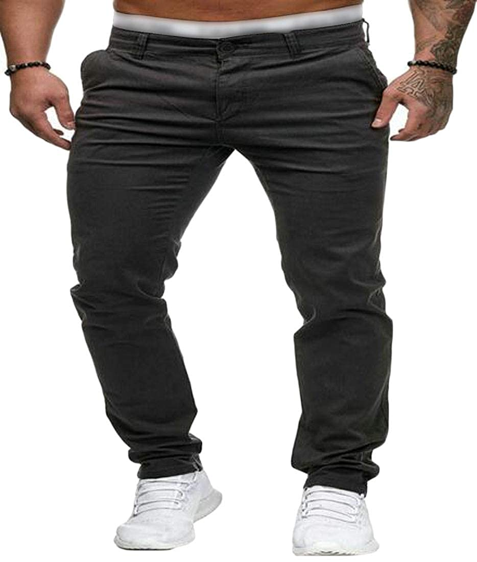 SHOWNO Mens Casual Slim Fit Straight Leg Solid Color Flat-Front Pants Trousers