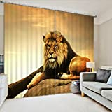 LB Animals Decor Collection,2 Panels Room Darkening Blackout Curtains,Lying Lion 3D Effect Print Window Treatment Living Room Bedroom Window Drapes,104 x 63 Inches