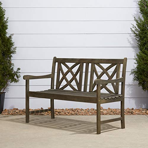 Vifah Renaissance Outdoor Patio 4-Foot Hand-Scraped Wood Garden Bench