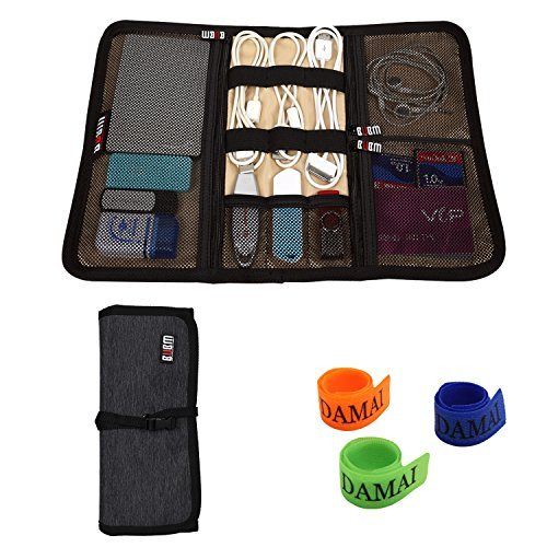 BUBM Portable Universal Wrap Electronics Accessories Travel Organizer/Hard Drive Bag/Cable Stable with Cable Tie (Medium-Black)