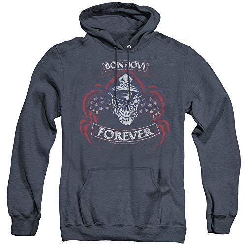 Bon Jovi Forever Skull Unisex Adult Pull-Over Heather Hoodie, Large Navy ()