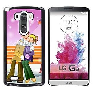 Qstar Arte & diseño plástico duro Fundas Cover Cubre Hard Case Cover para LG G3 D855 D850 D851 ( Couple Warm Winter Love Romance Art Park)