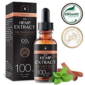 Raw Hemp Oil – 100MG – Cinnamint Flavor – Mushroom Infused for Enhanced Efficacy, Made in USA – Rich in Omega 3-6-9…