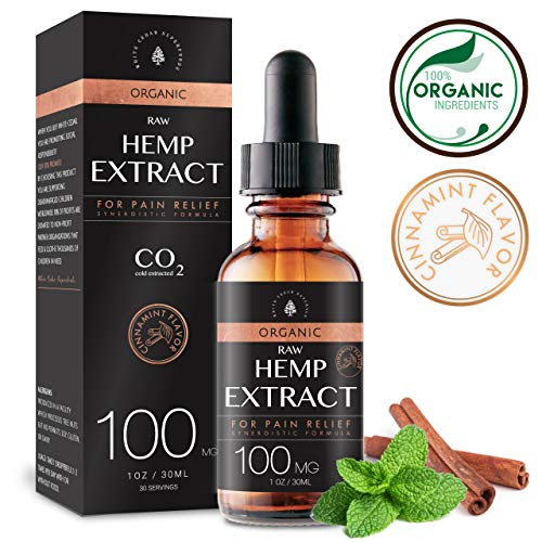 Organic Hemp Oil for Pain Relief (100MG), Cinnamint Flavor, Helps Relieve Stress & Anxiety, Rich with Omega 3 Fatty Acids & Vitamin E, Organic Terpenes, Mushrooms Infused for Enhanced Efficacy.