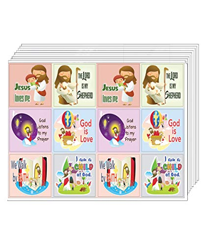 Kids Christian Stickers (12pcs Set x 10 Sheets)- God is Love Affirmation Bible Verses - for Journal Planner Sticky Notes Scrapbooking Party Favors Decor - Stocking Stuffers for Boys Girls Children