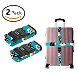 YEAHSPACE 2-Pc Set Cute Corgi Glasses Luggage Straps TSA Approved 3 Digit TSA Lock For Suitcase Travel Belts