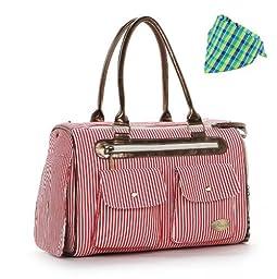 HOODDEAL Fashion Dog Carrier Handbag Purse Tote Bag Pet Cat Dog Hiking Backpack (Red)