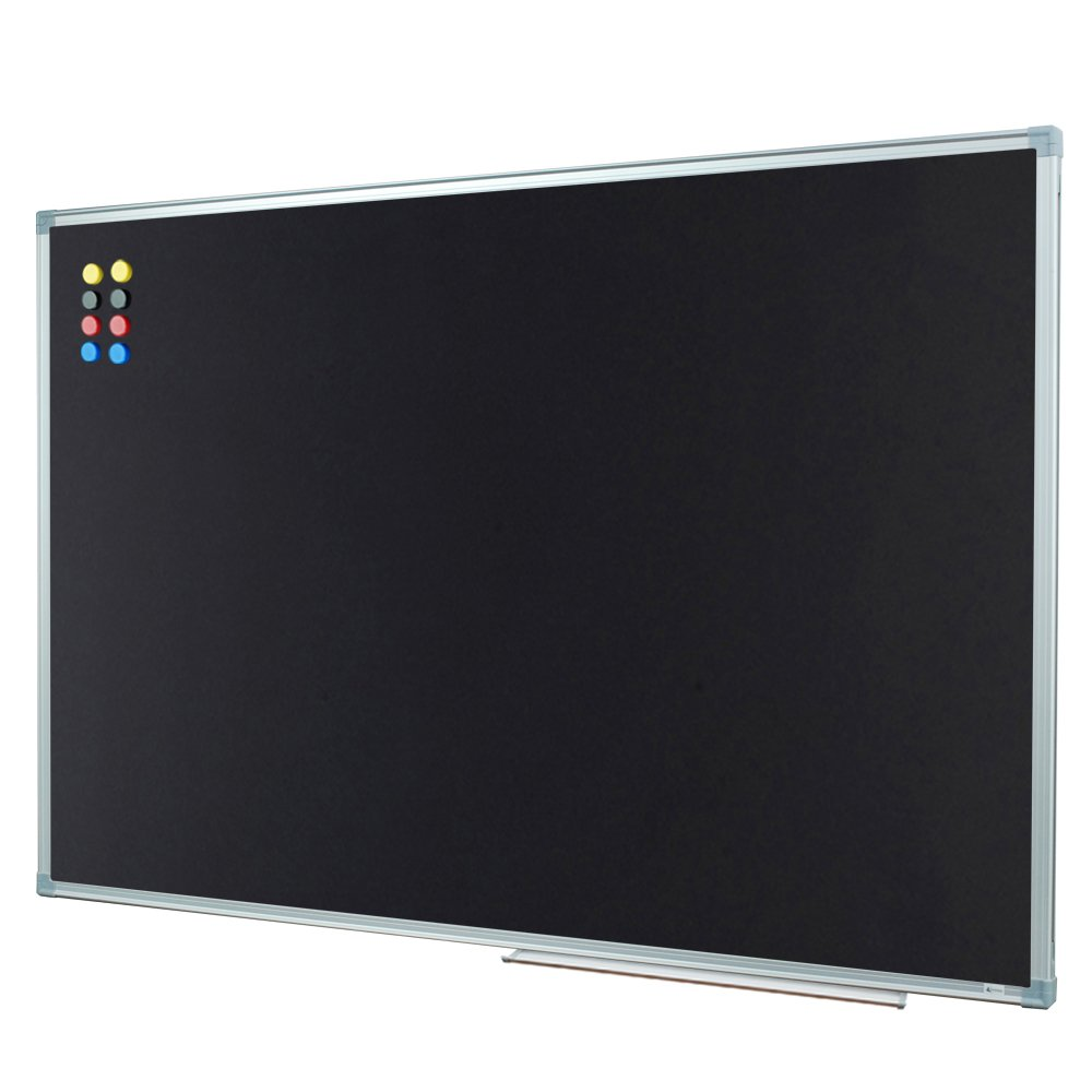 Lockways Magnetic Chalkboard 36 X 24 Black Board - Bulletin Magnetic Blackboard 3 x 2, Silver Aluminium Frame U10732762603 for Home, School, Office, 1 Aluminum Marker Tray, 8 Magnets