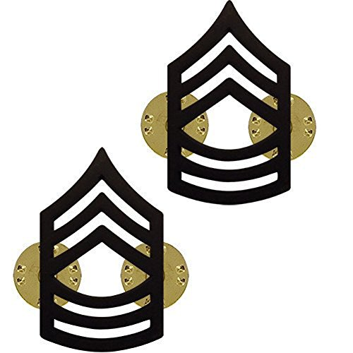 (Make your Uniform Look Smart! Master SGT Army Collar Pins Black Pair)