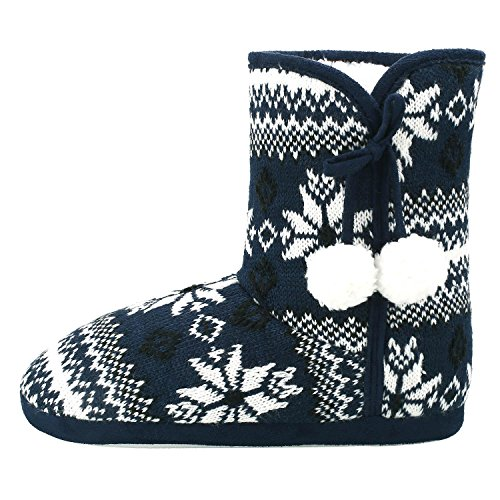 Womens Winter Warm Indoor Outdoor Slipper Mid Calf Boot Slippers Snow Bootie (5-6, (Ultra Wide Calf Boot)