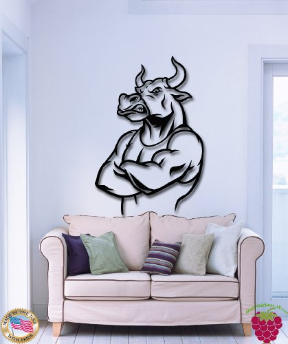 Wall Stickers Muscle Crossfit Bull Sport Funny Angry Bad Ass ()