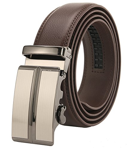 4ed488e4b63cb ITIEZY Ratchet Belt for Men Sliding Automatic Buckle Designer Leather Brown  Strap 35mm width - Buy Online in Oman.