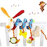 Baby Multi-function Animal Bed Wrap Toys Morbuy Cribs Hanging Bells with Mirror Ring Paper (Yellow Dog(Teether+Mirror+Cat))