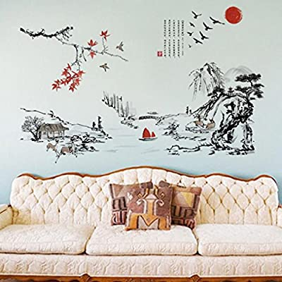 Iuhan Chinese painting Wall sun With Landscape Picture Wall Sticker