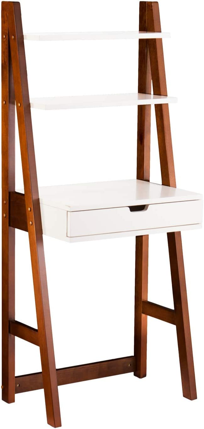 Furniture HotSpot – Ladder Leaning Desk – White w Weathered Oak – 23.75 W x 15.5 D x 55.25 H