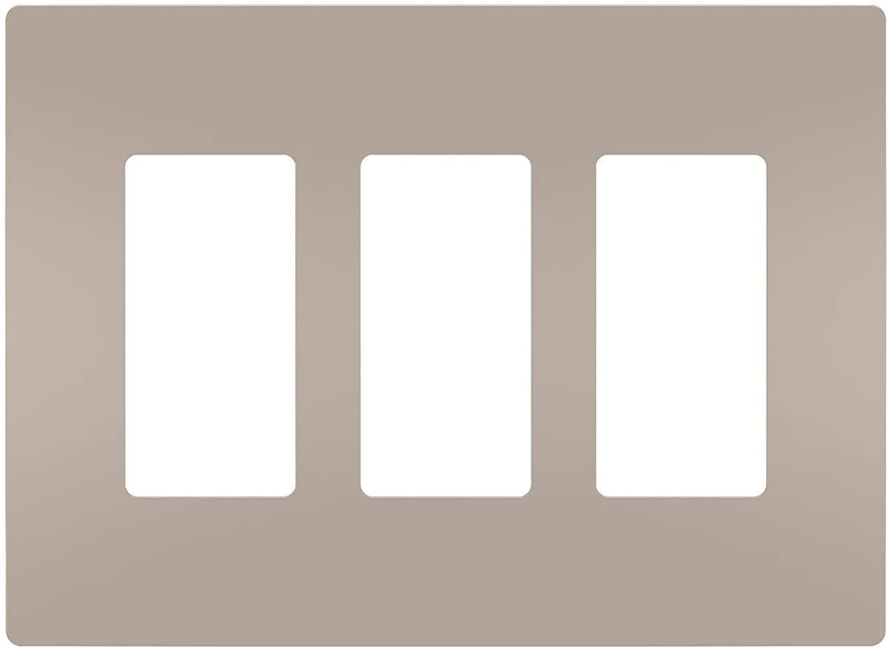 Legrand radiant Screwless Wall Plates for Decorator Rocker Outlets, 3-Gang, Brushed Nickel, RWP263NICC6