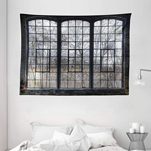 """Ambesonne Industrial Tapestry, Old Large Window with Broken Panes Deserted Hall Forest Trees Winter, Wide Wall Hanging for Bedroom Living Room Dorm, 80"""" X 60"""", Green White"""
