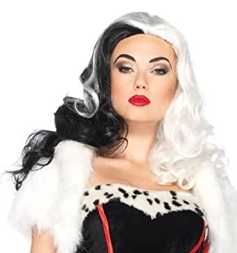 Leg Avenue Costumes Disney Cruella Wig, Black/White, One Size