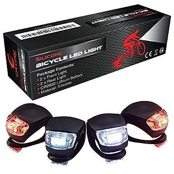 e3d15627b7ed6 Luces Bicicleta LED Kit de Luz Delantera y Trasera Silicona Impermeable para  Ciclismo Nocturno y Actividad