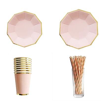 Tenlife - Vajilla desechable con estampado de oro rosa ...