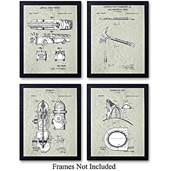 Firefighters Patent Wall Art Prints - Set of Four (8x10) Vintage Unframed Photos - Perfect Patriotic Gift For Firemen and First Responders, Great For Home Decor - Cream