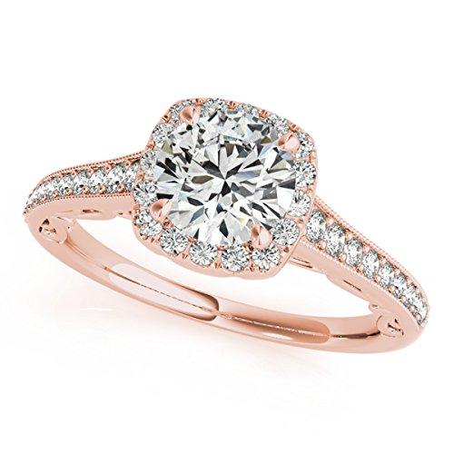 MauliJewels 1 Ct Halo Round Diamond Engagement Ring In 14k Rose Gold