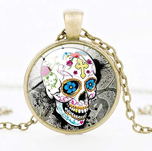 Necklace for Men Mexican Sugar Skull Pendant Day Of The Dead Necklace Antique Bronze Silver Chain Sugar Skull Glass Jewelry Necklace Classic