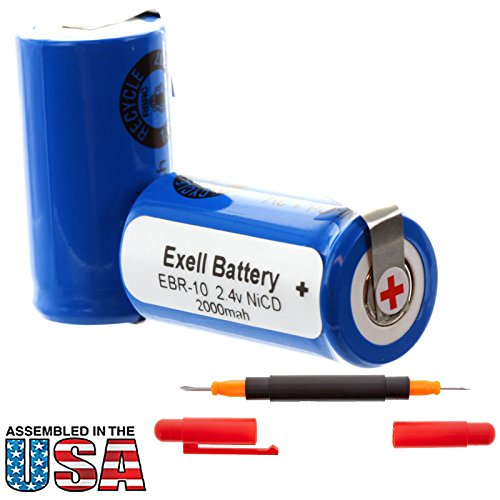 Exell 2.4V Razor Battery for Remington 5BF1, XLR 3000, Interstate Batteries ANIC0208, Sun Battery R10 Replaces RAZOR-10