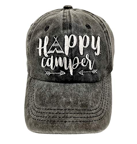 LOKIDVE Embroidered Happy Camper Baseball Cap Distressed Dad Hat for Women Men ()