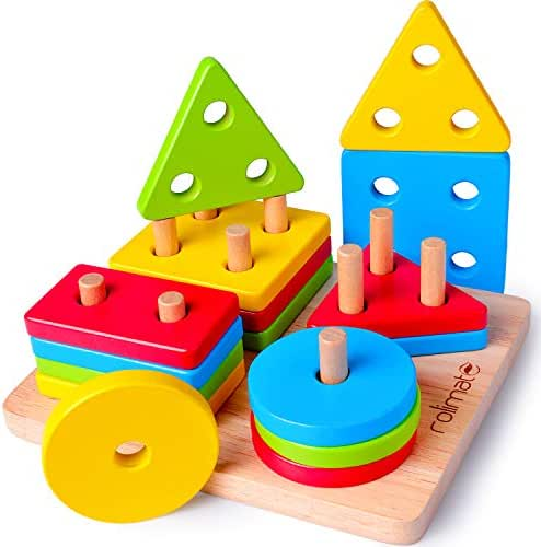 rolimate Educational Toys Toddler Toy for 1 2 3 4+ Years Old Boy Girl Wooden Puzzle Shape Sorter Preschool Learning Toys Sensory Toy Montessori Toys for Toddlers Babies Kids
