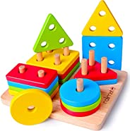 rolimate Best Toy for 1 2 3 Years Old Boy & Girl Birthday Gift Wooden Educational Toys Shape Color Geometr