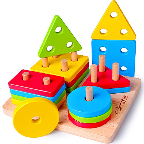 rolimate Developmental Toys for 1 2 3 4 5 Year Old Boys Girls Wooden Educational Toys Shape Sorter Preschool Learning Toys Best Christmas Birthday Motor Sorting Stacking Toy for Baby & Toddler (Fine Motor Skill Toys For 1 Year Old)