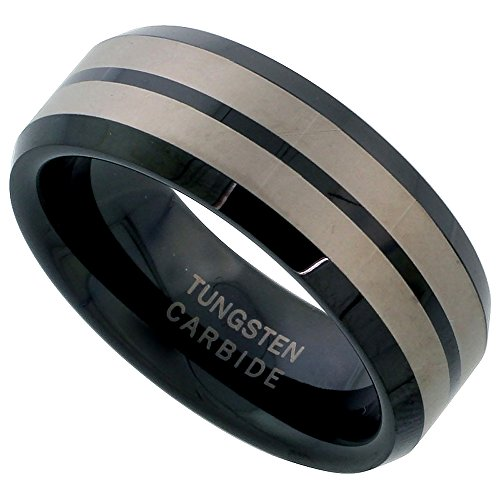 (Sabrina Silver Tungsten Carbide 8 mm Flat Wedding Band Ring Blackened Finish Etched Double Stripes Beveled Edges, size 9.5)