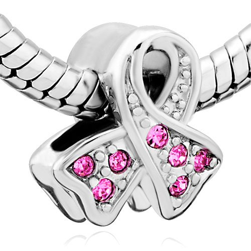 (Pugster Pink Ribbon Breast Cancer Awareness Silver Bead Charm Fit Pandora Chamilia Biagi Charms Beads)