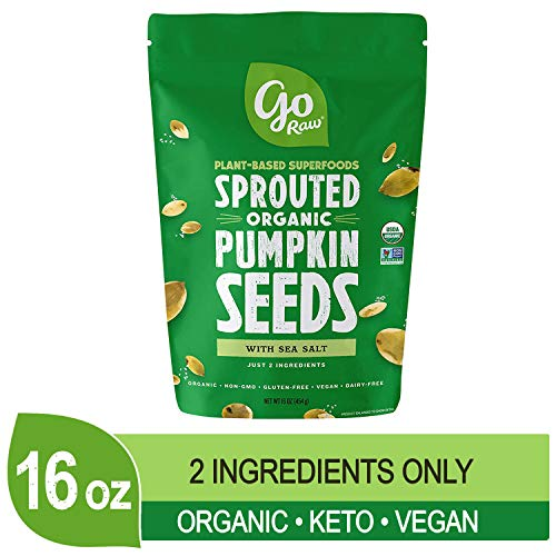 Go Raw Pumpkin Seeds, Sprouted & Organic, 1 lb. Bag | Keto | Vegan | Gluten Free Snacks | Superfood