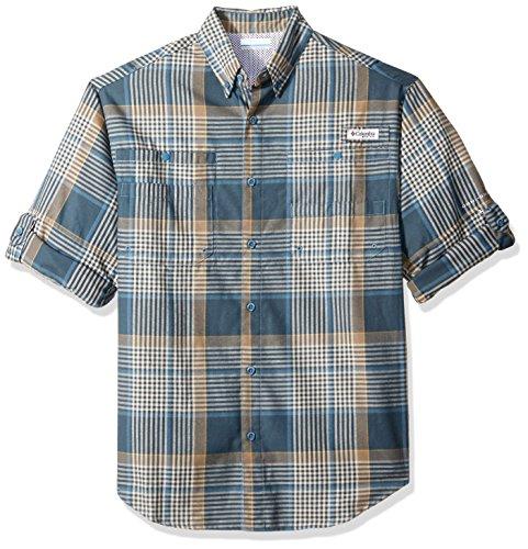 Columbia Men's Tamiami Flannel Long Sleeve Shirt, Blue Heron