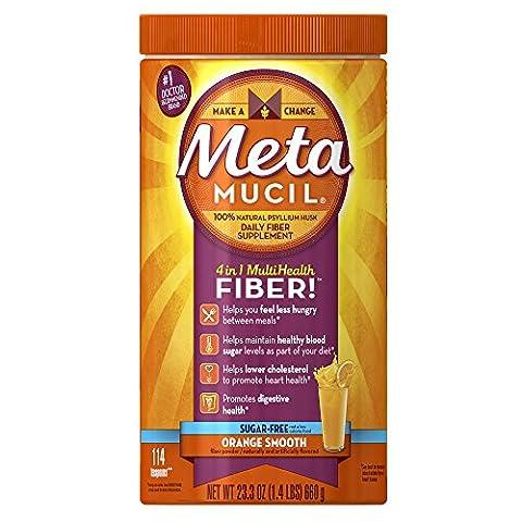 Metamucil Daily Fiber Supplement, Orange Smooth Sugar Free Psyllium Husk Fiber Powder, 114 Doses (Healthy Directions)