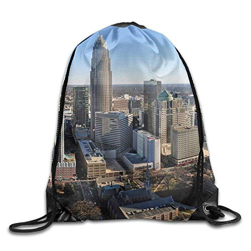 HHELI Best Gifts,Very Sturdy,Lightweight,Adjustable String Drawstring Backpack Charlotte, NC Skyline Gym Beam Port Drawstring Shoulder Travel Canvas Backpack Bag