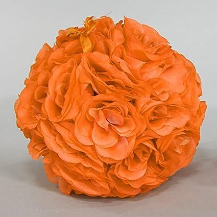 Rose Silk Flower Pomander Kissing Ball 10 ORANGE