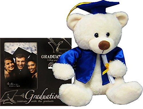 Graduation Gifts Set for Him or Her College or High School Student Grad - Picture Frame and Teddy Bear with Blue Cap and Gown for Nursing School Teen Juniors Women (Teddy Bear Graduation Gift)