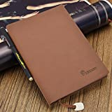 Leather Notebook,izBuy Classic Vintage Notebook Diary Medium Size for Men/women 240 Lined Beige Pages-Mediterranean Style 0.5mm Smooth Gel Pen Included,Darkbrown(58-25)